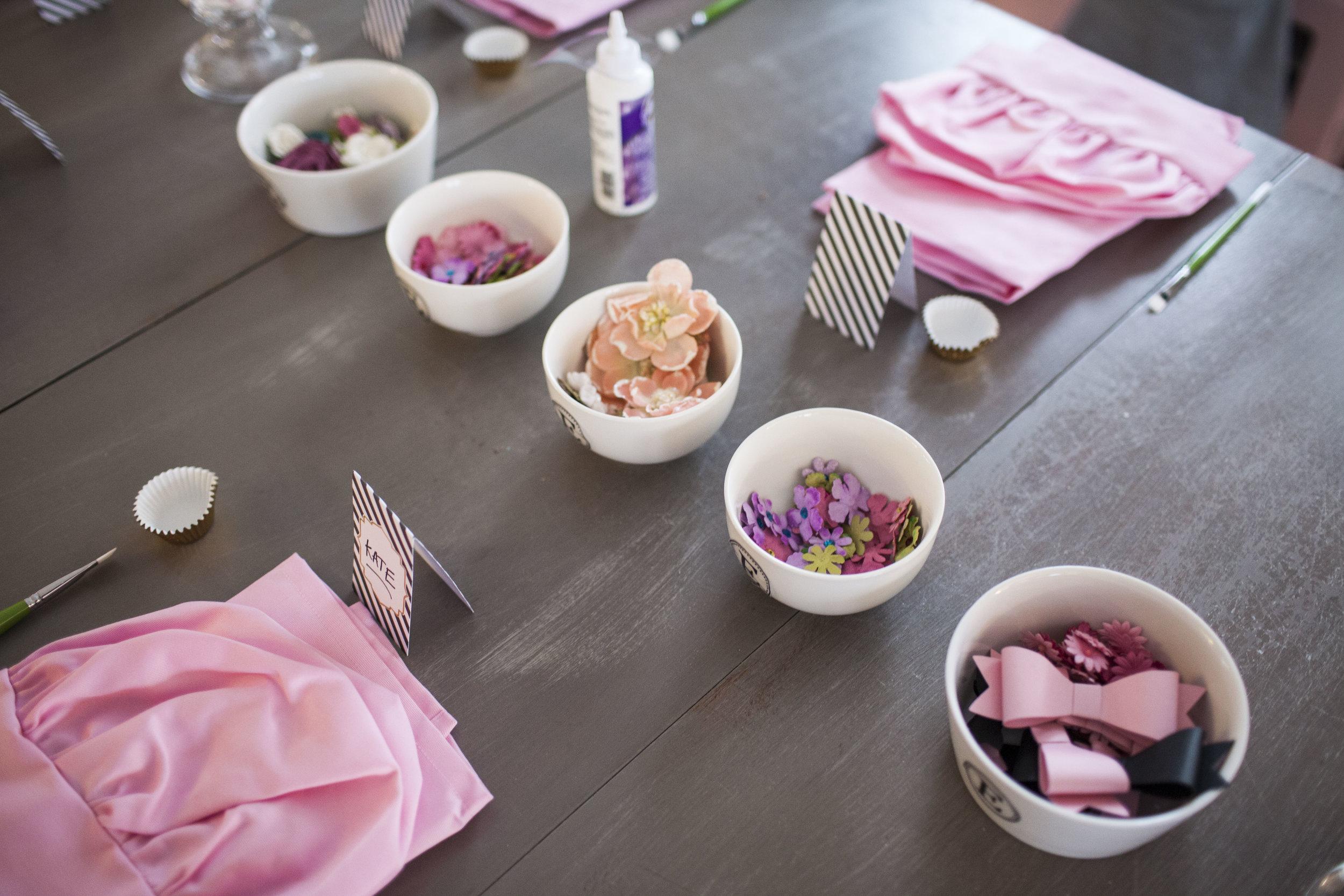 tea party, girls tea party, apron decorating, Wrap It Up Parties