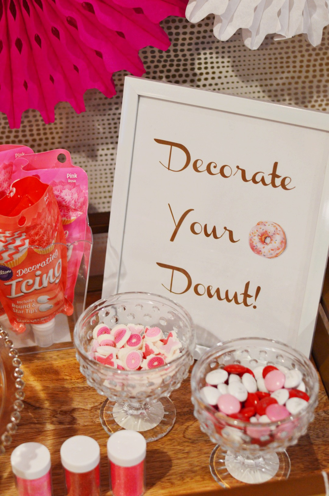 donut birthday party, decorate your donut sign, donut theme, Wrap It Up Parties