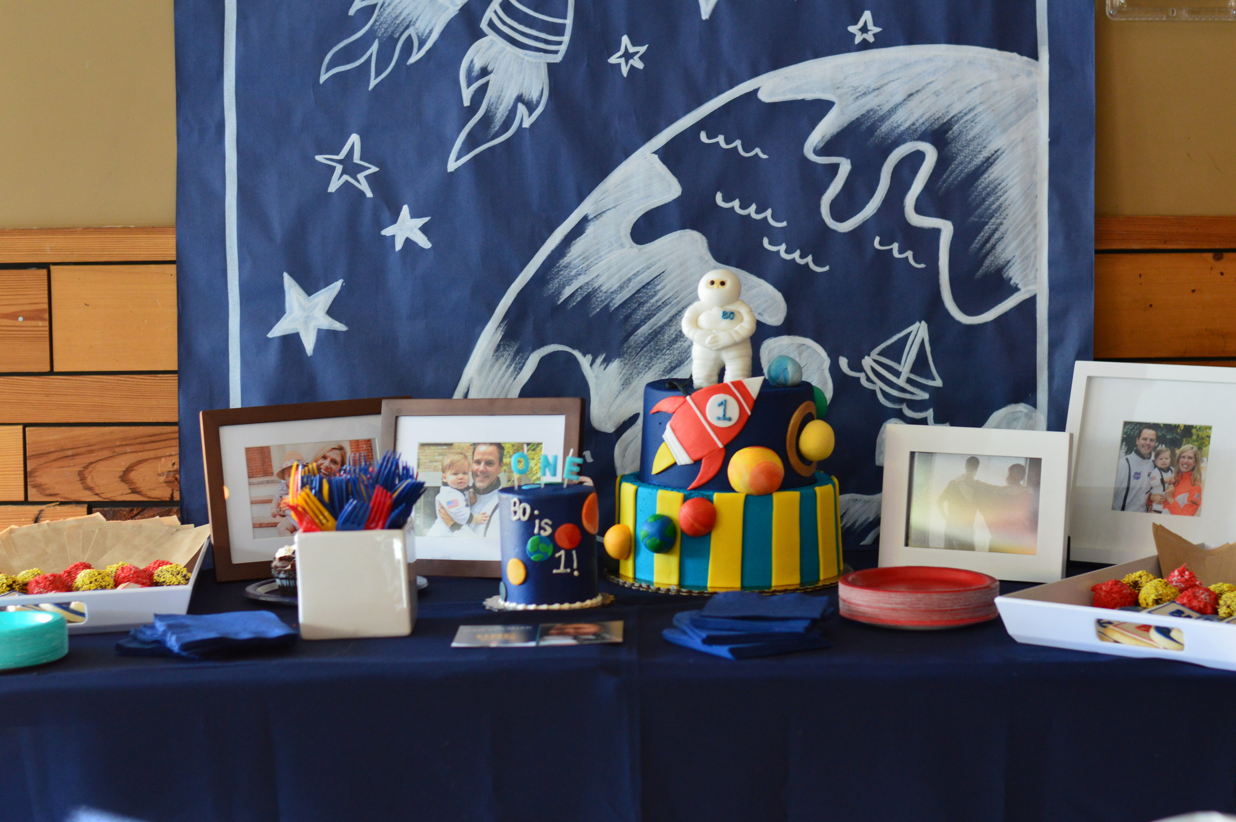 space first birthday party, space cake table, first birthday, Wrap It Up Parties