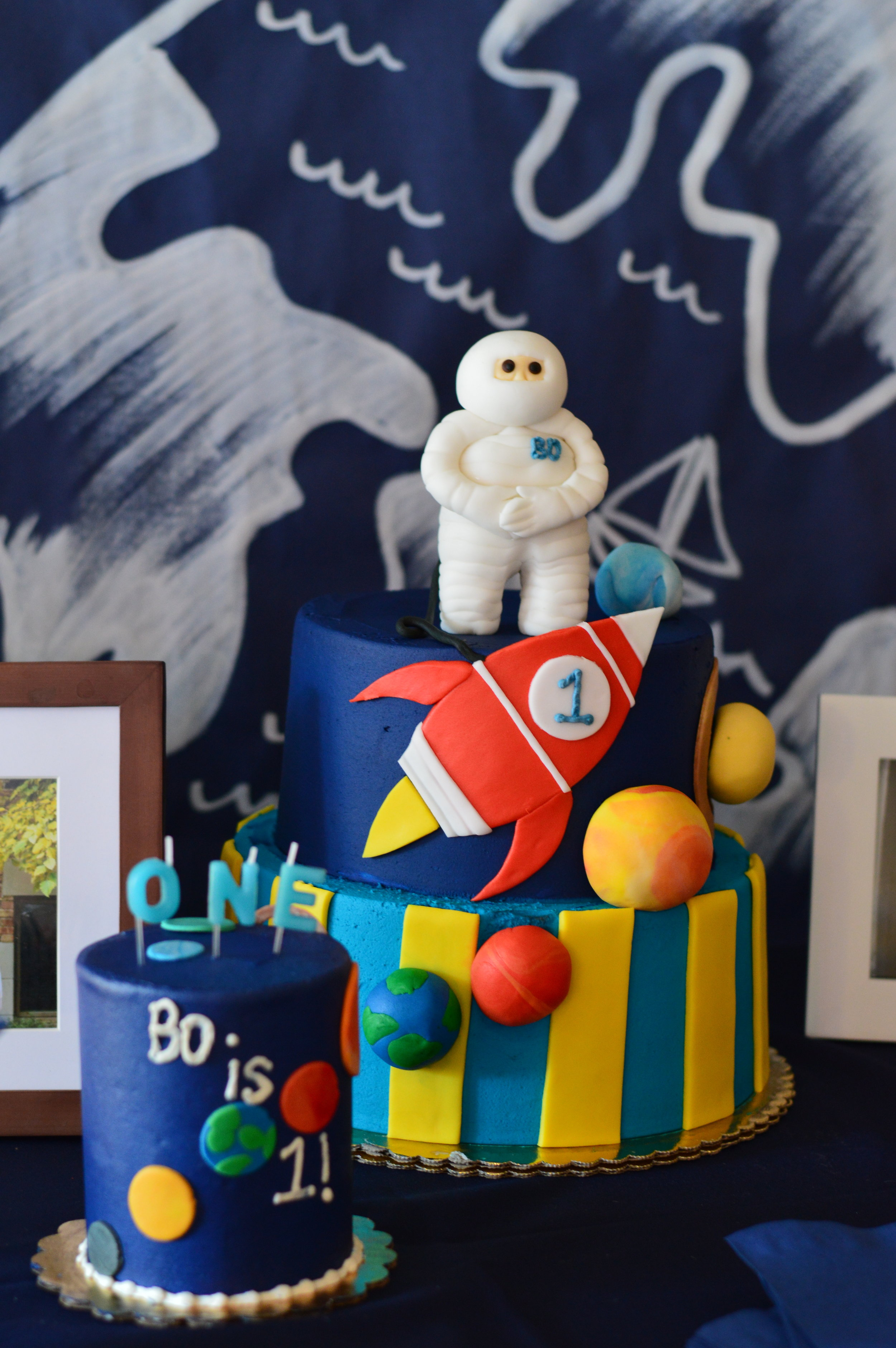space cake, space first birthday party, Wrap It Up Parties