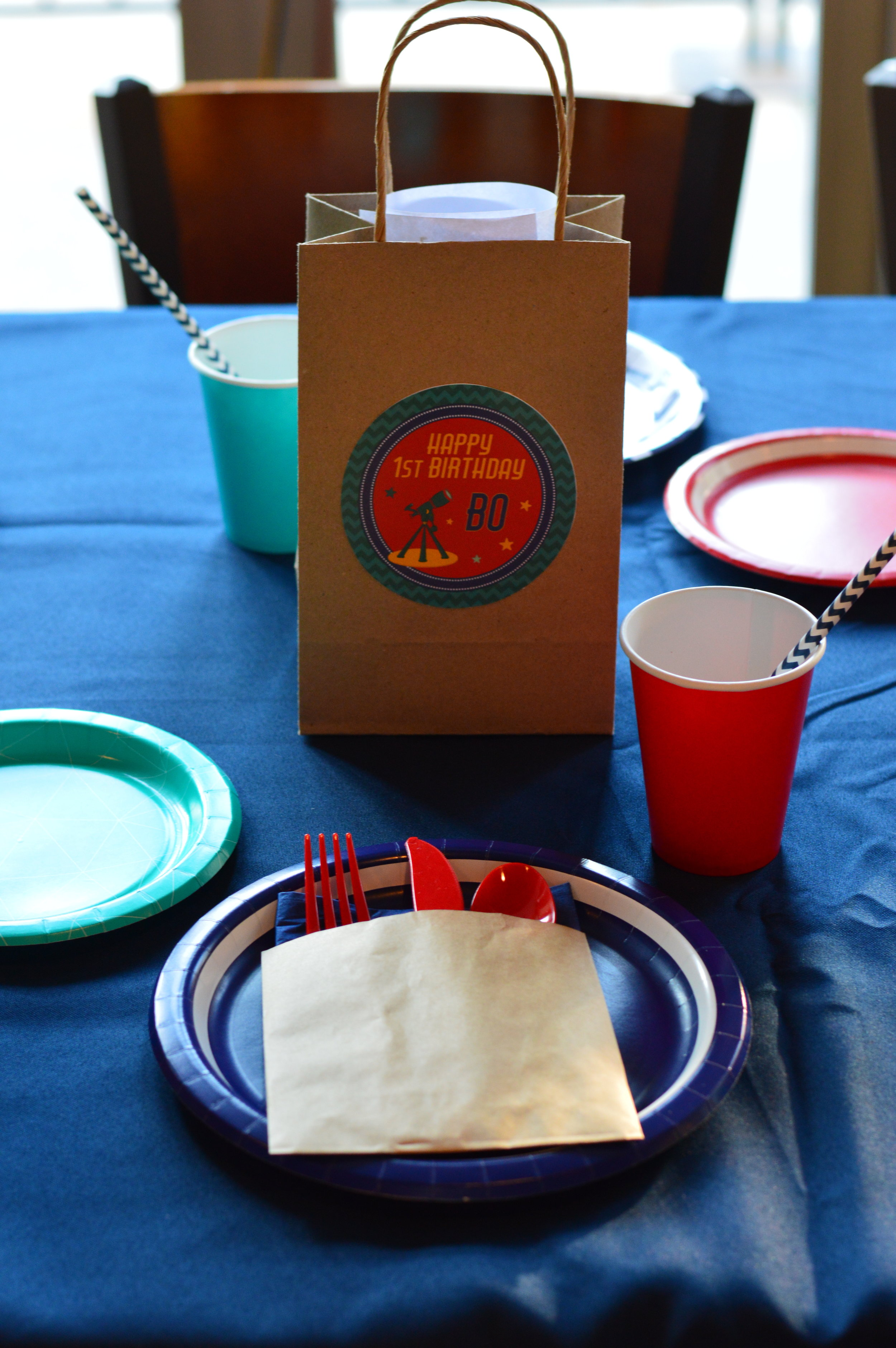 space party table setting, space first birthday party, boy birthday, Wrap It Up Parties