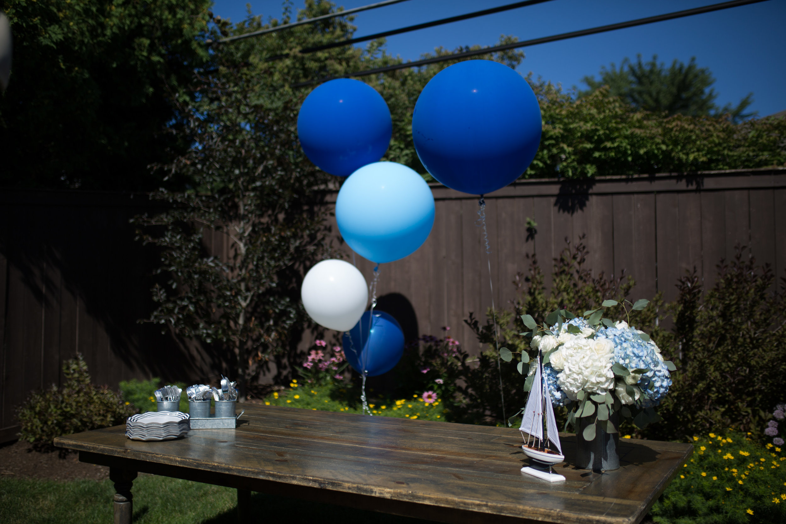 boy birthday party decorations, nautical birthday party, blue balloons, Wrap It Up Parties
