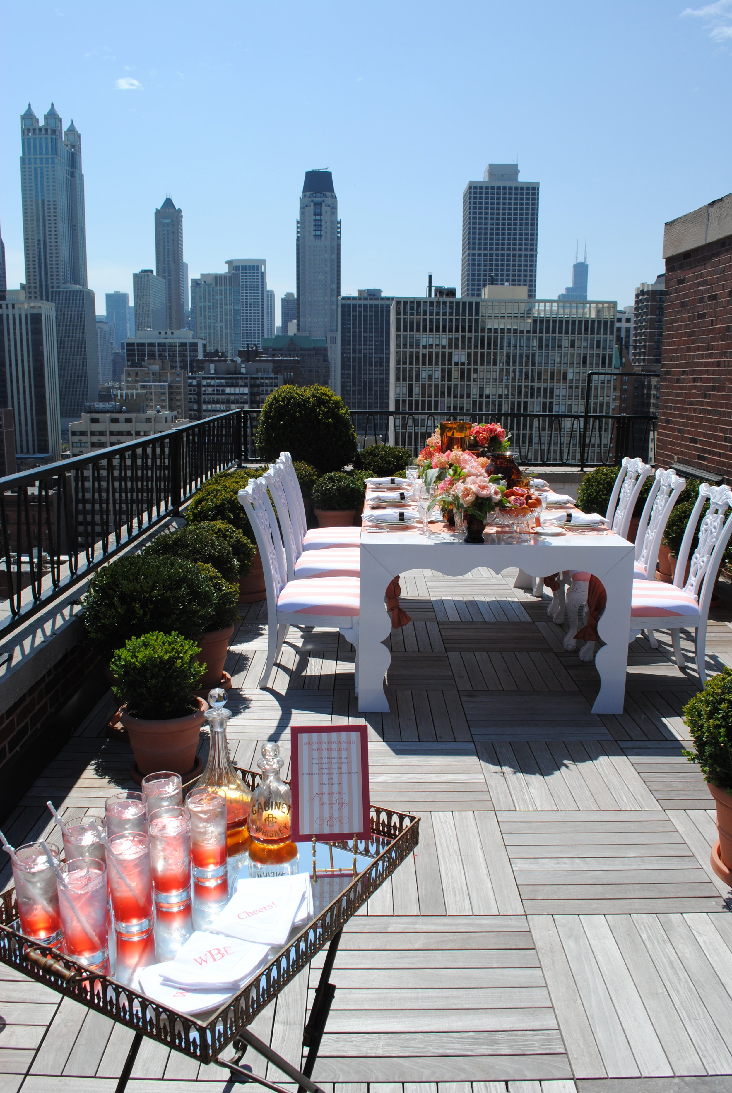 rooftop bridal shower, fruit decor, bridal shower, Wrap It Up Parties
