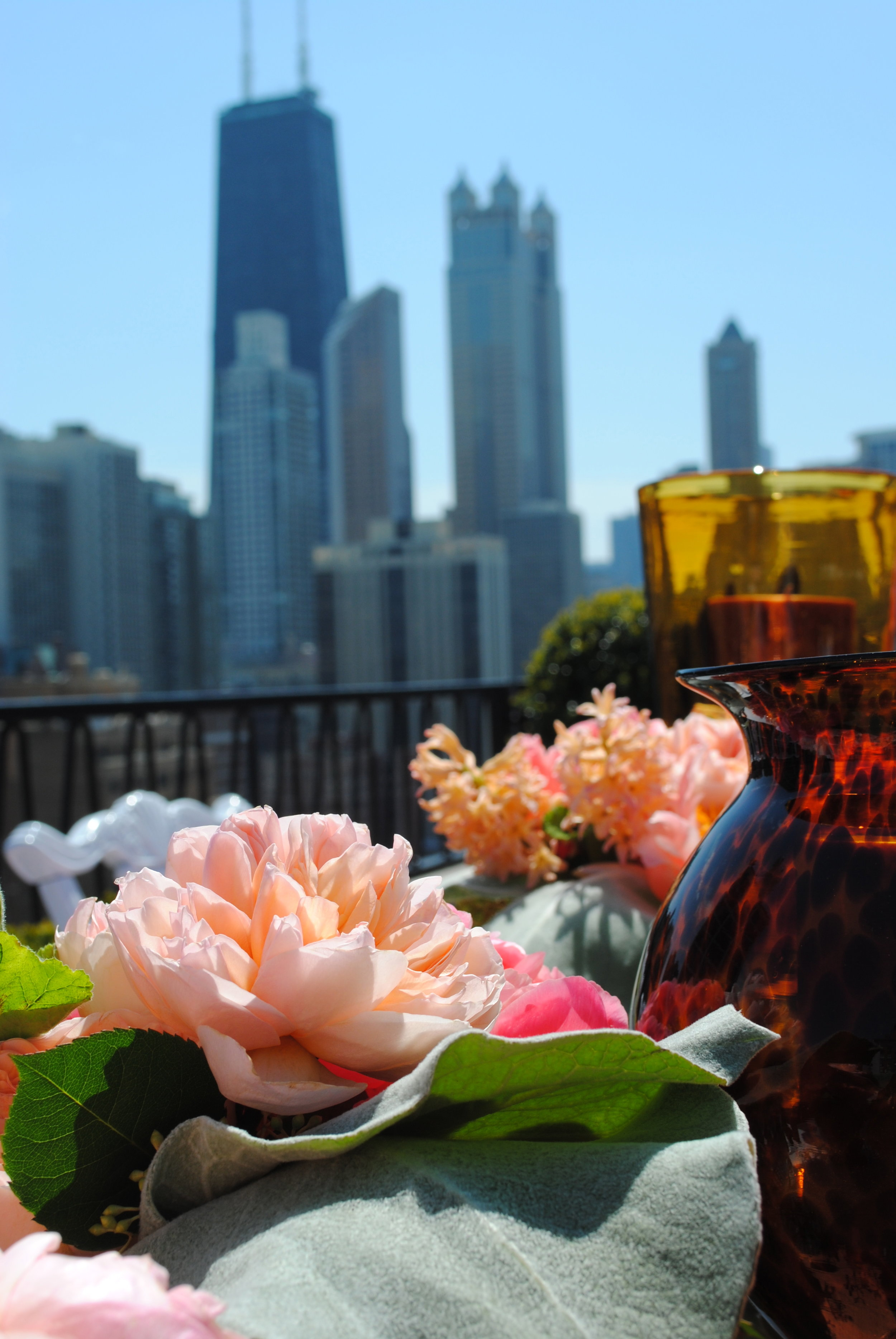 coral flowers, rooftop bridal shower, Wrap It Up Parties