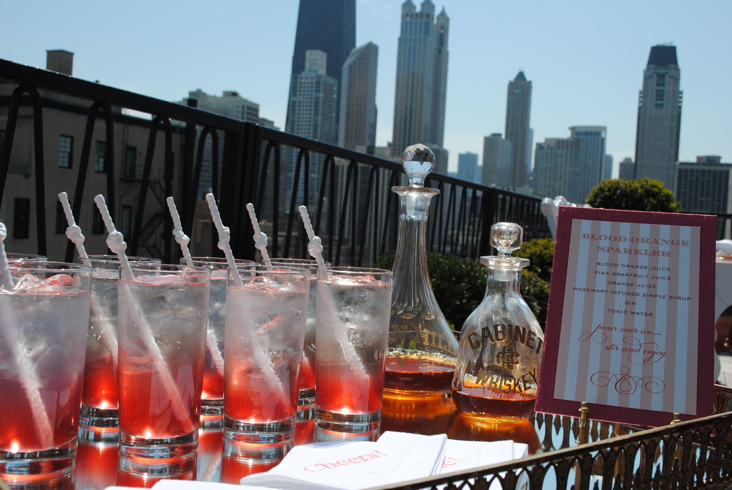 rooftop shower, sparkling shower drinks, bridal shower, Wrap It Up Parties
