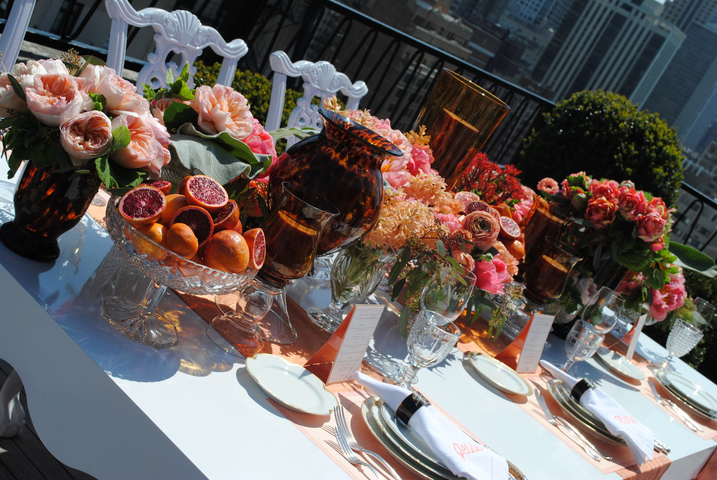 coral flowers, citrus decor, rooftop bridal shower, Wrap It Up Parties
