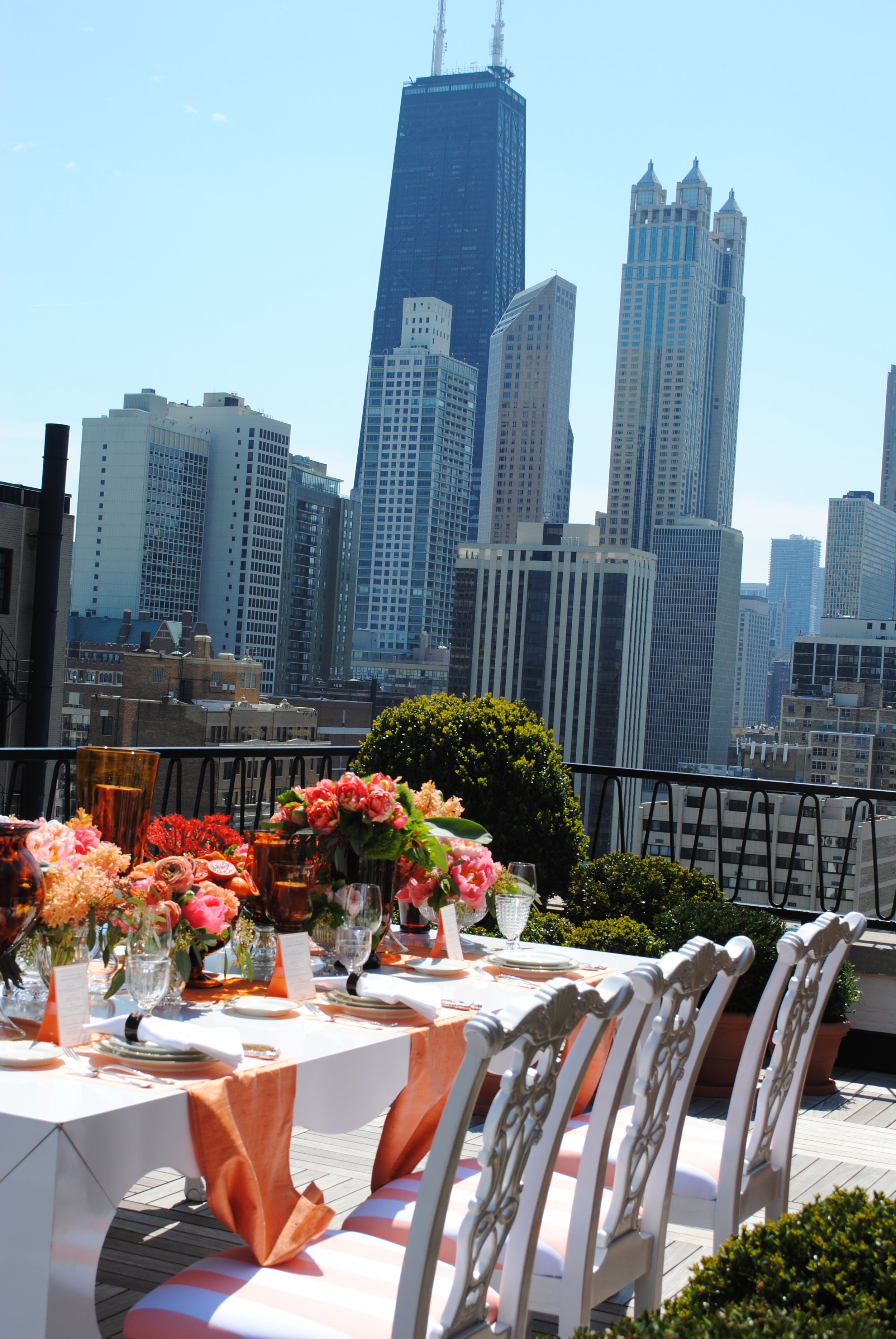 bridal rooftop shower, bridal shower seating, coral details, Wrap It Up Parties