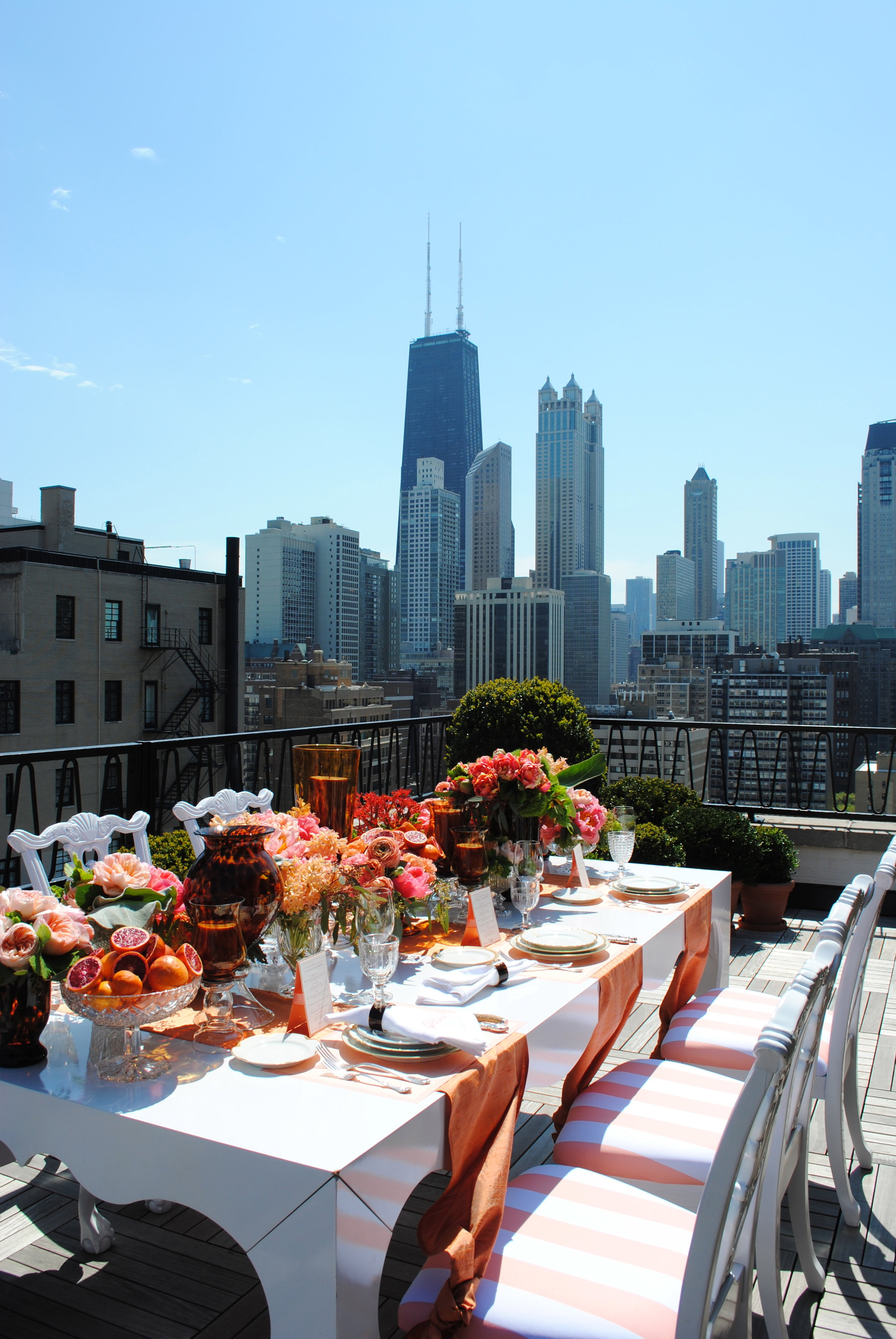 bridal shower, rooftop bridal shower, coral decor, grapefruit decor, bridal shower seating, Wrap It Up Parties