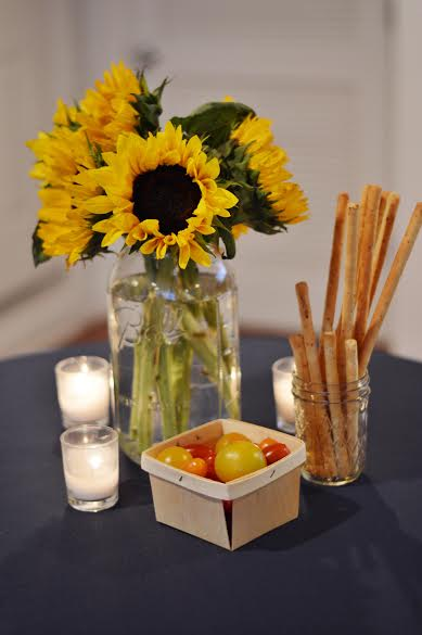rustic baby shower, baby girl shower, sunflower arrangement, rustic baby shower tablescape, Wrap It Up Parties