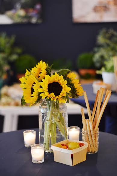 rustic picnic baby shower, sunflower centerpieces, baby girl shower, Wrap It Up Parties