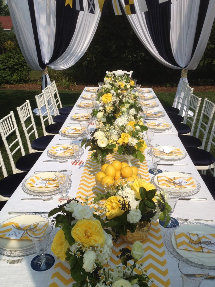 yellow centerpieces, nautical baby shower, baby boy shower, nautical tablescape, Wrap It Up Parties