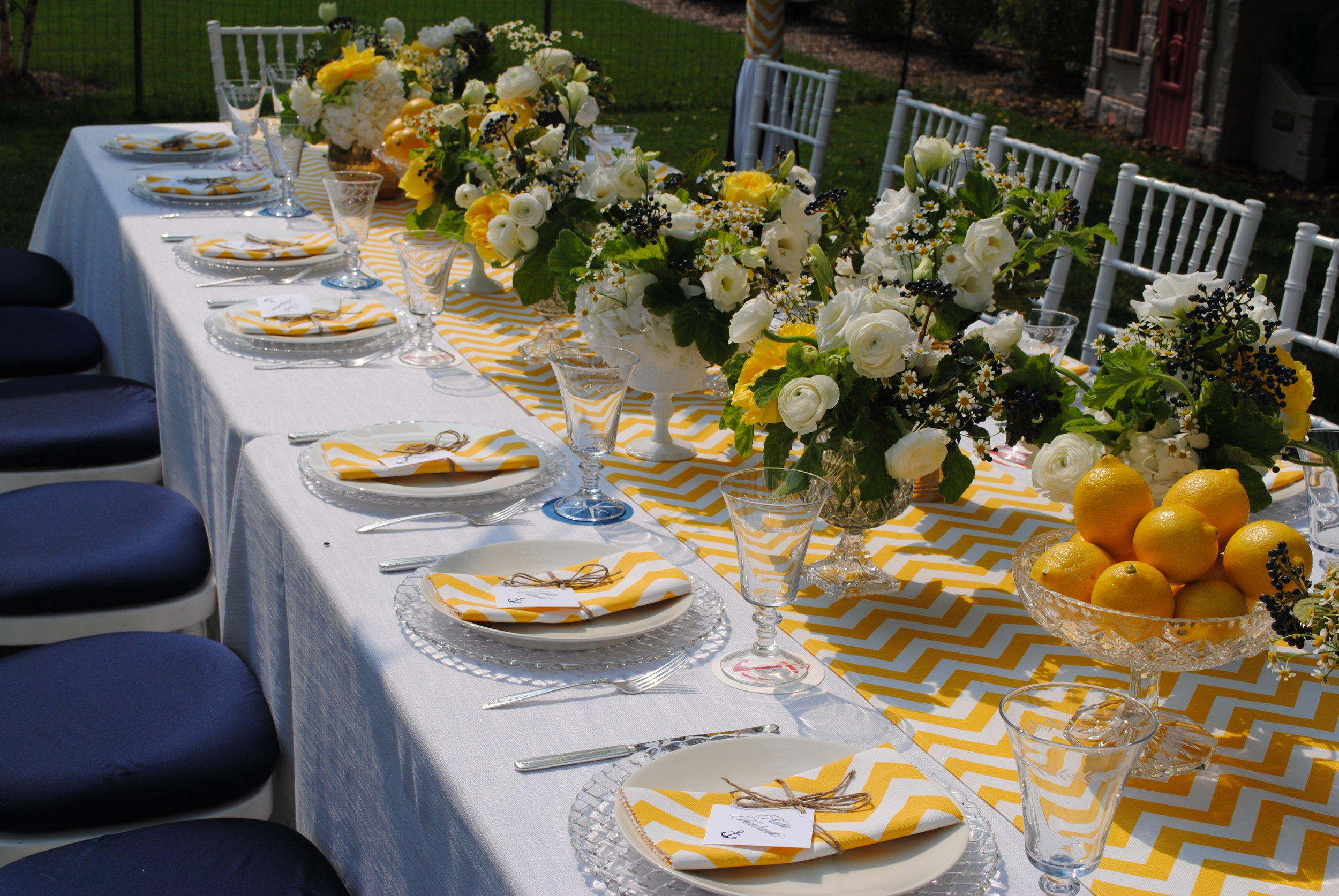 nautical baby boy shower, yellow center pieces, yellow shower details, Wrap It Up Parties