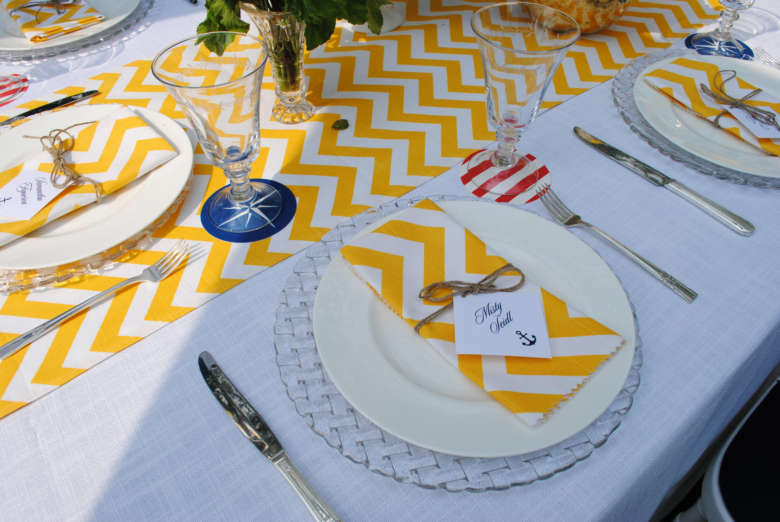 yellow and white chevron, nautical baby shower, ahoy boy, shower table settings, Wrap It Up Parties