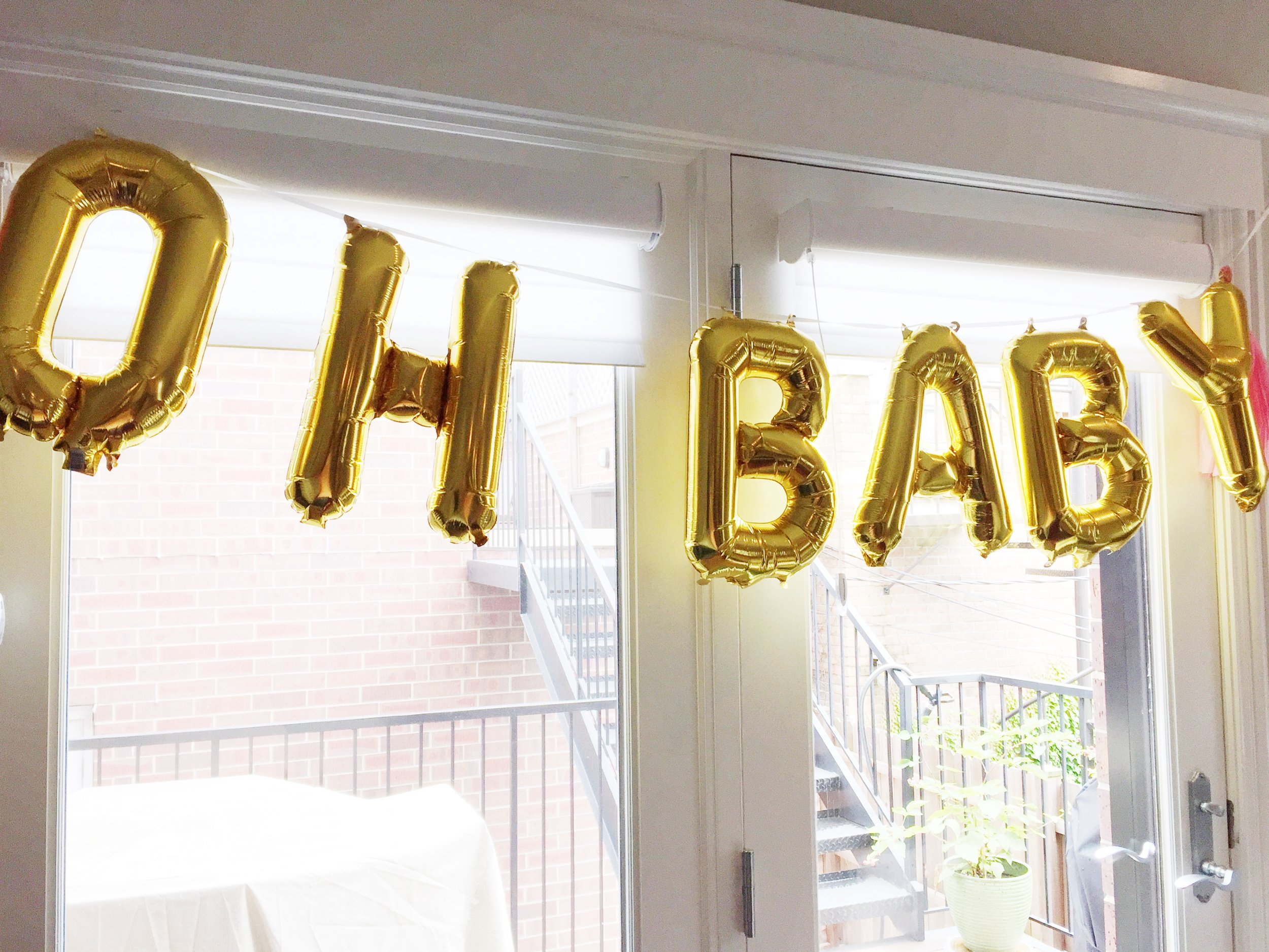 oh baby balloons, gold balloons, baby girl shower, baby shower decorations, Wrap It Up Parties