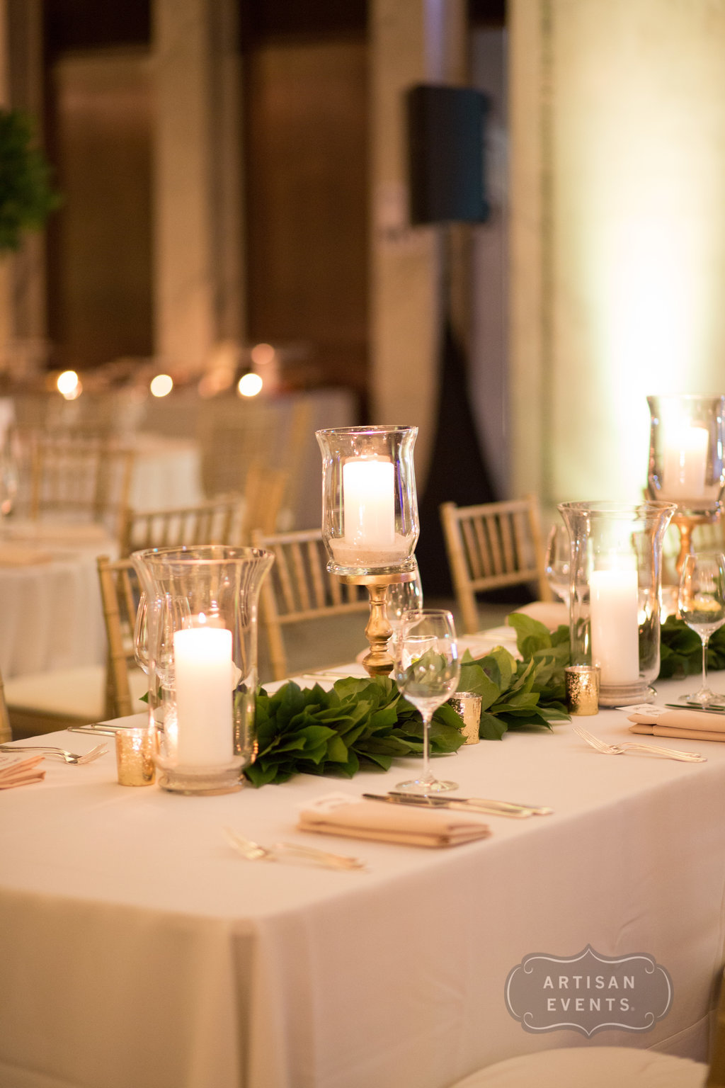 flowers, candles, centerpieces, Chicago Cultural Center, Wrap It Up Parties