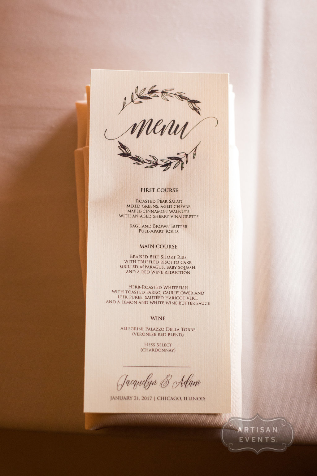 menu, Chicago Cultural Center, Wrap It Up Parties