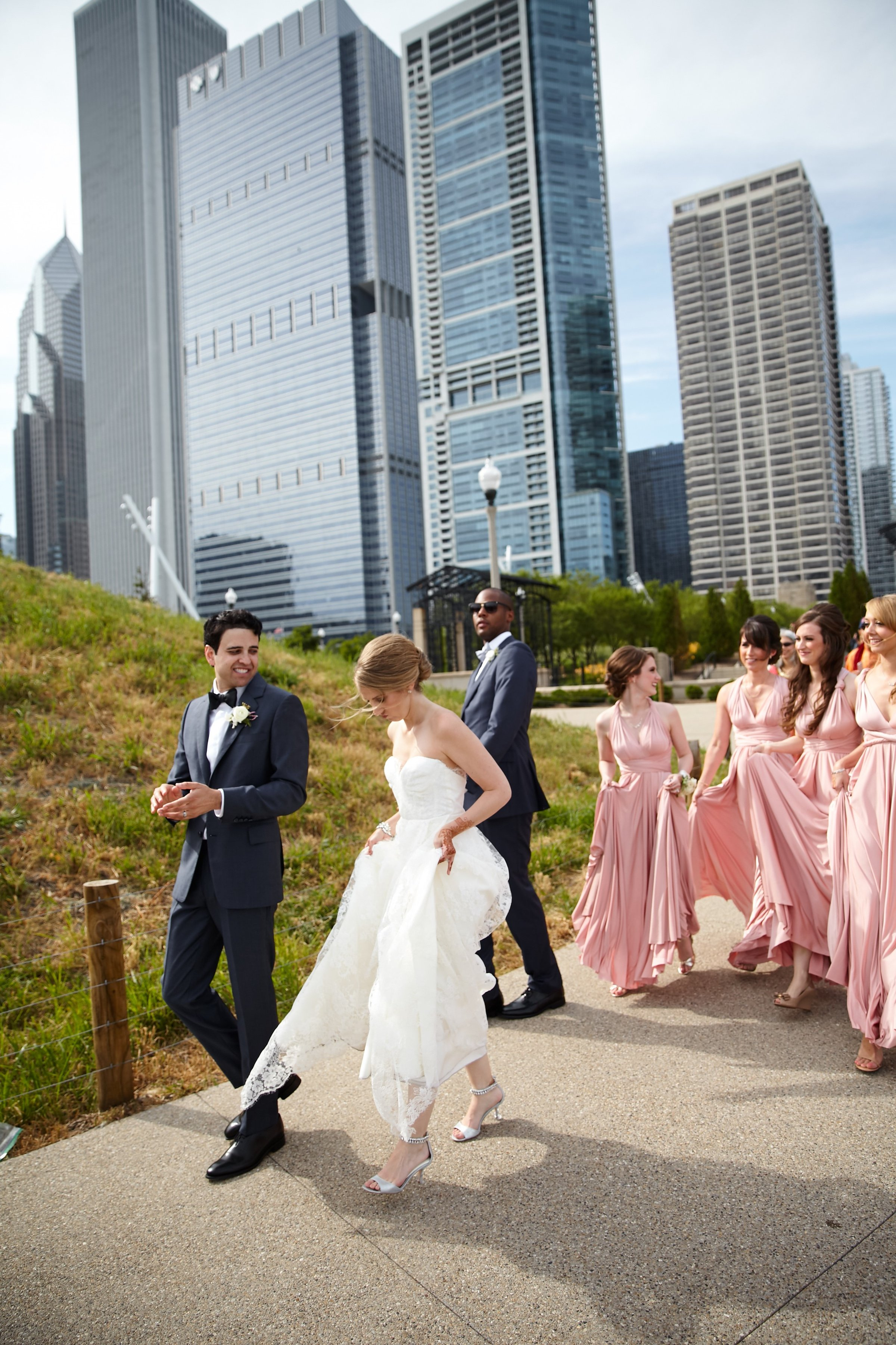 bride and groom, pink bridesmaid dresses, Cancer Survivor Park, Wrap It Up Parties