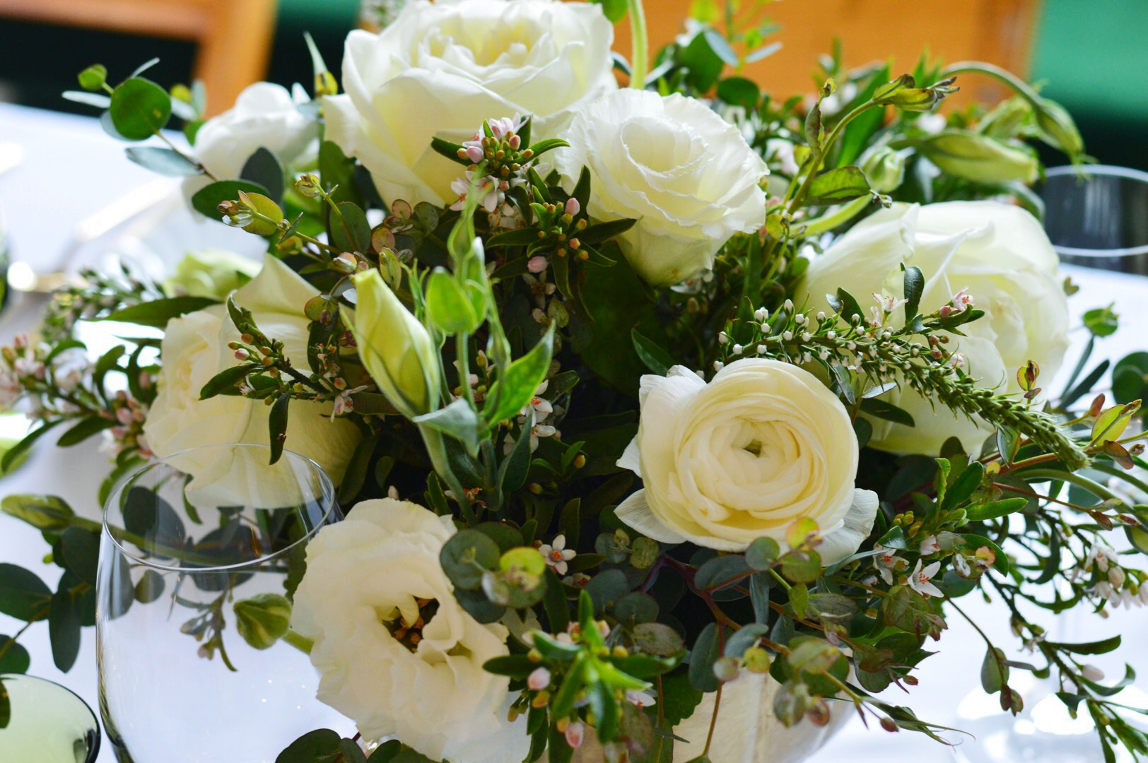 Vintage Inspired Bridal Shower  Green and White Centerpiece  Bridal Shower Flowers  Planning by Wrap It Up Parties