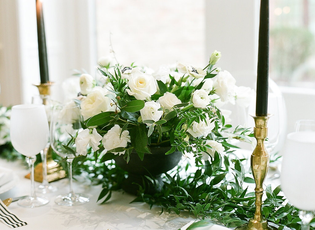 Greenery Filled Shower  Green and White Centerpiece  Green and White Tablescape  Planning by Wrap It Up Parties
