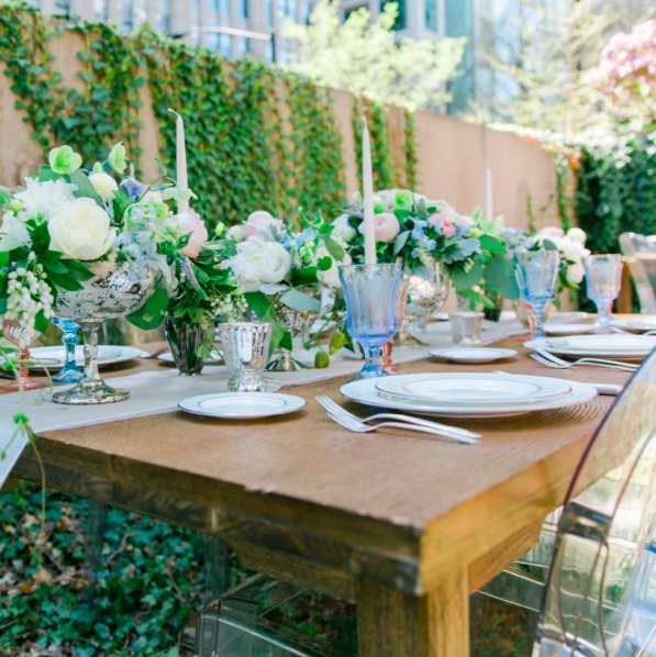 Spring Garden Shower  Pink and Green Centerpieces  Shower Tablescape  Planning by Wrap It Up Parties
