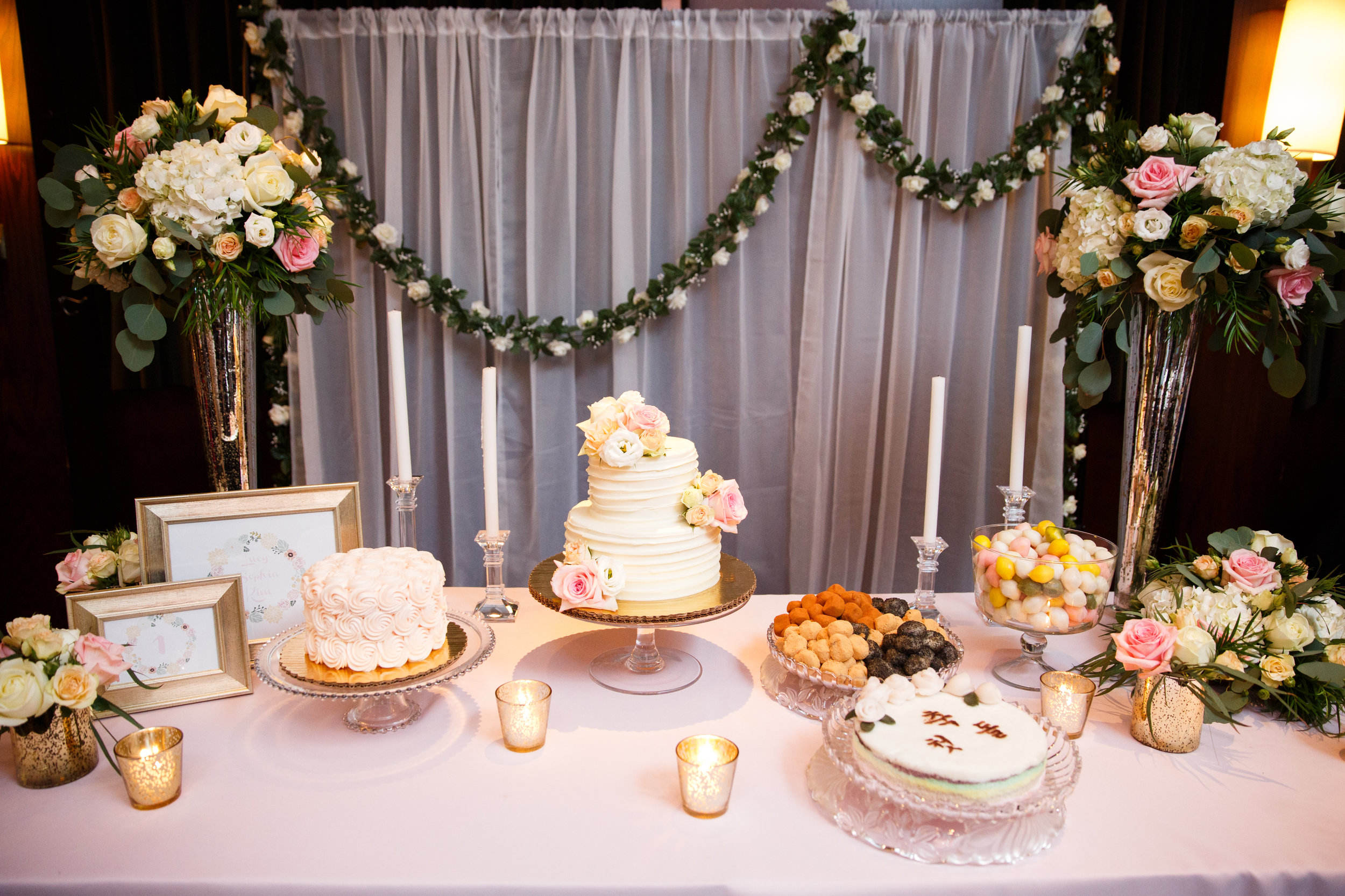 Pink and Gold Princess Party  Blush and Gold Tablescape  First Birthday Party  Planning by Wrap It Up Parties