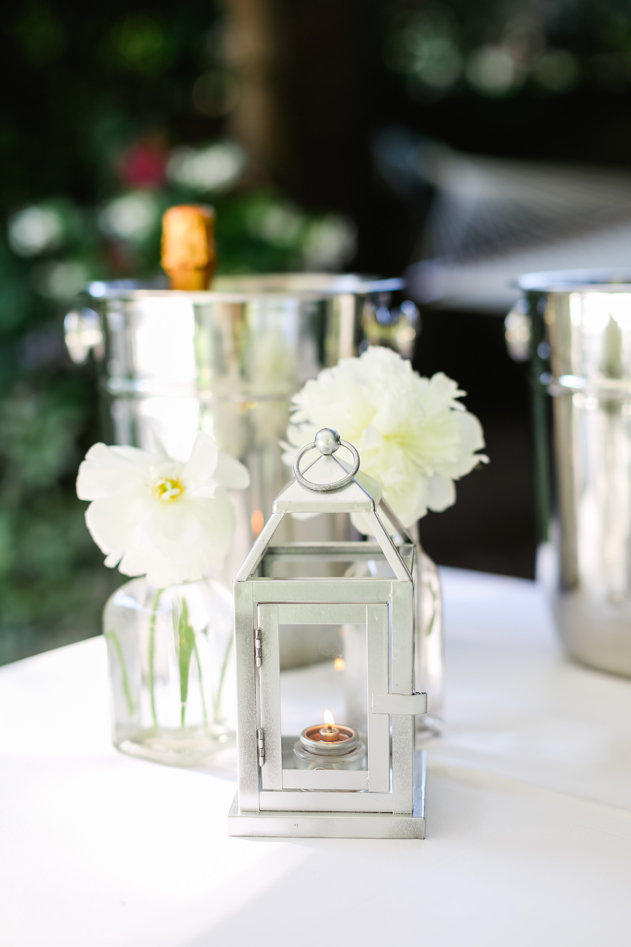 40th Anniversary Party  White and Silver Decor  Champagne Buckets   Planning by Wrap It Up Parties
