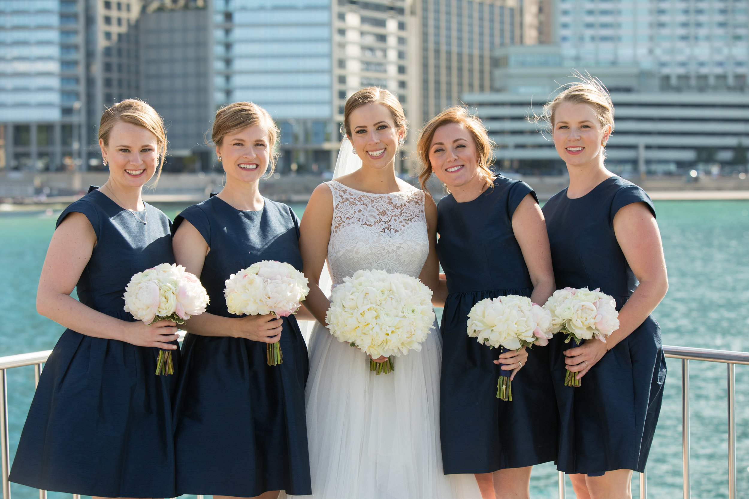 Bride and Bridesmaids  Navy Bridesmaid Dresses  School of the Art Institute  Planning by Wrap It Up Parties