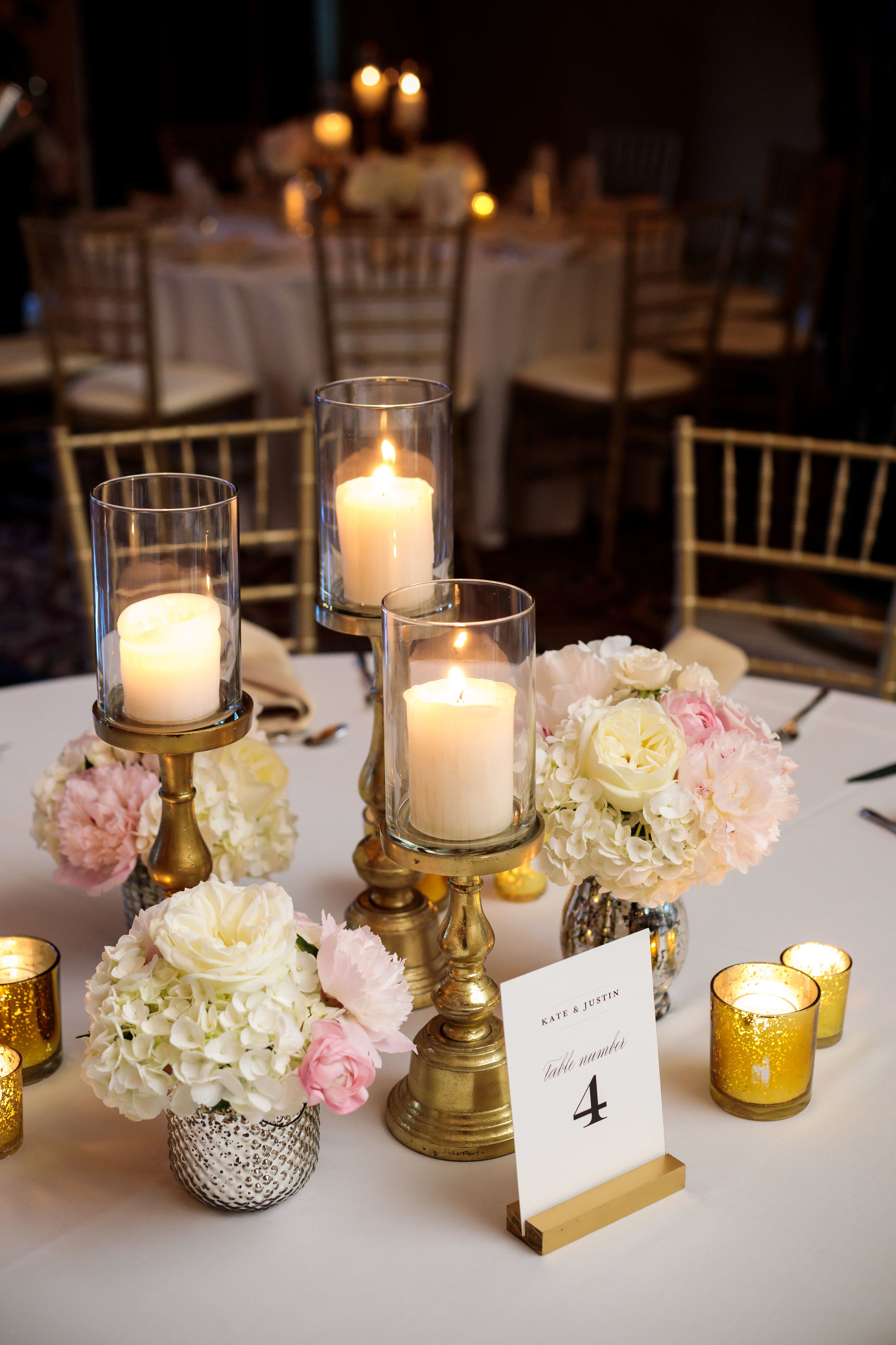 Pink and White Centerpieces  Candles  Wedding Reception Tablescape  School of the Art Institute  Planning by Wrap It Up Parties
