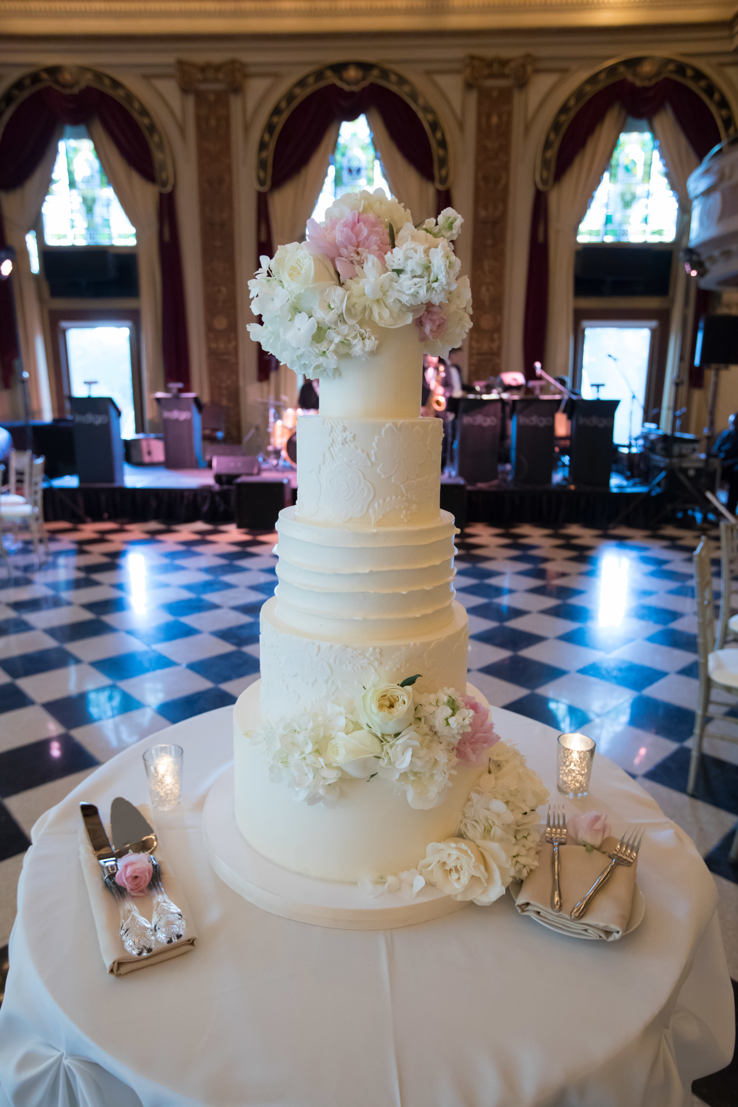 Wedding Cake  White Wedding Cake  School of the Art Institute  Planning by Wrap It Up Parties