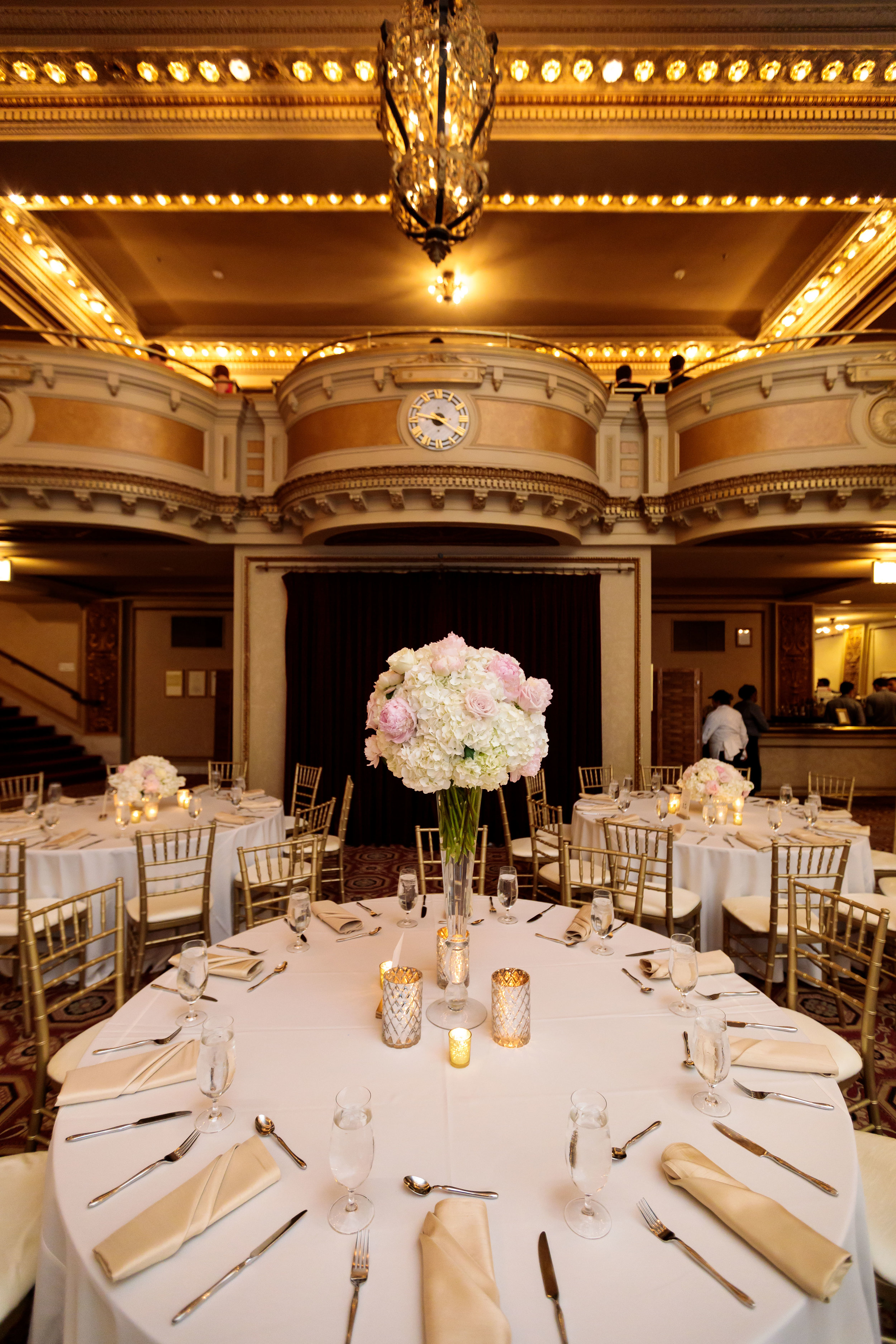 Pink and White Centerpiece  Gold Table Decor  School of the Art Institute  Planning by Wrap It Up Parties