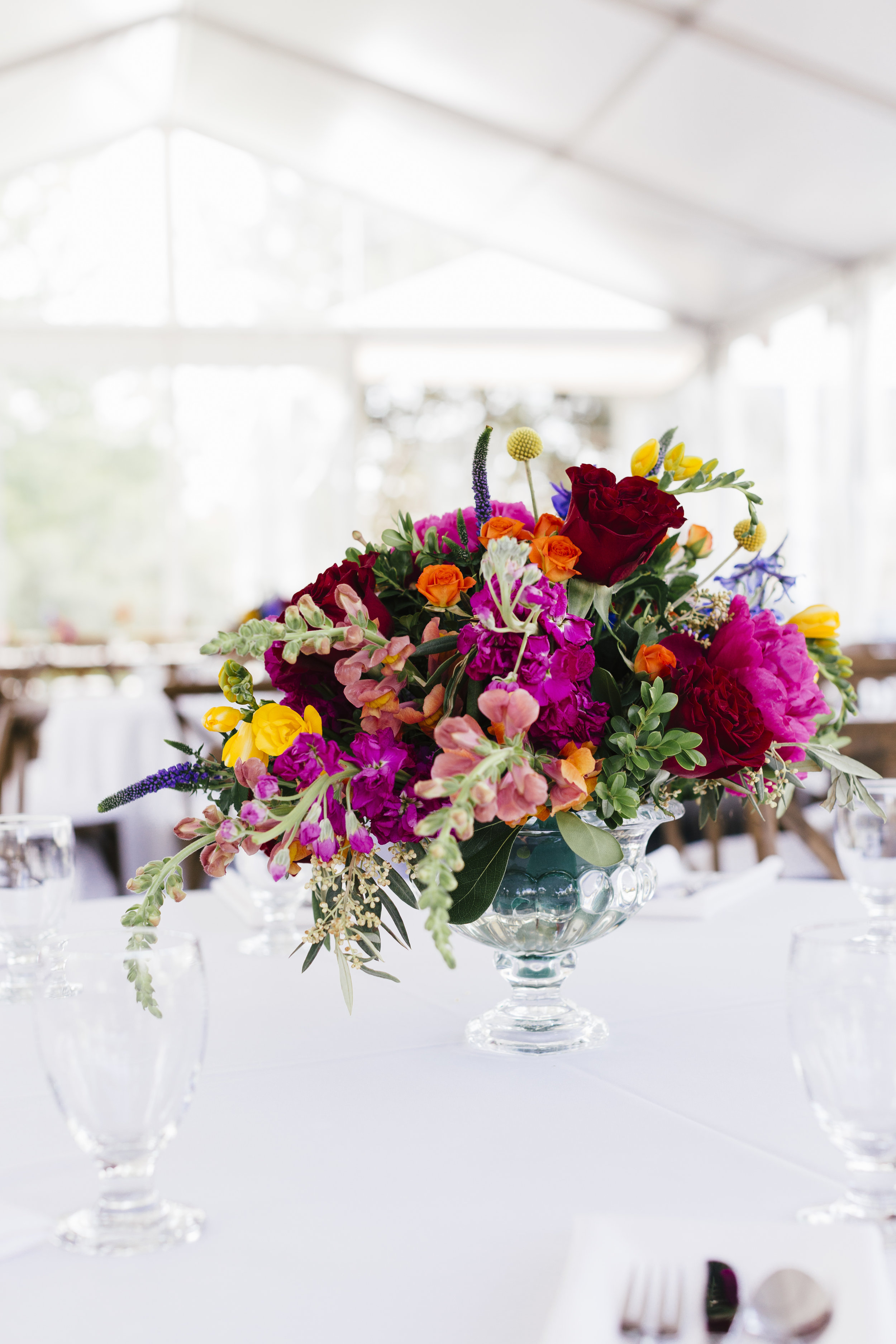 Private Residence Wedding  Colorful Centerpiece  Planning by Wrap It Up Parties