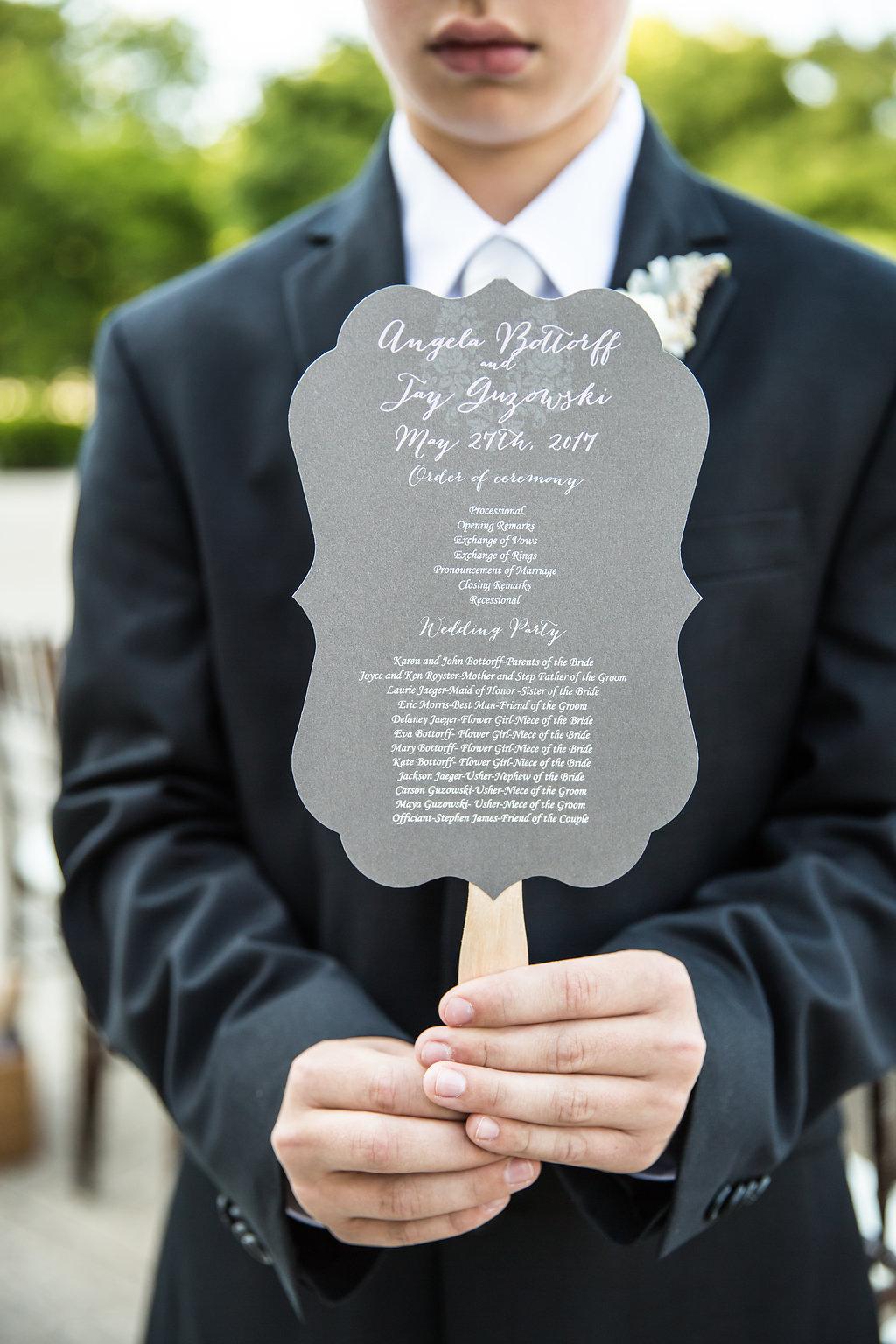 Ceremony Program Fan  Planning by Wrap It Up Parties