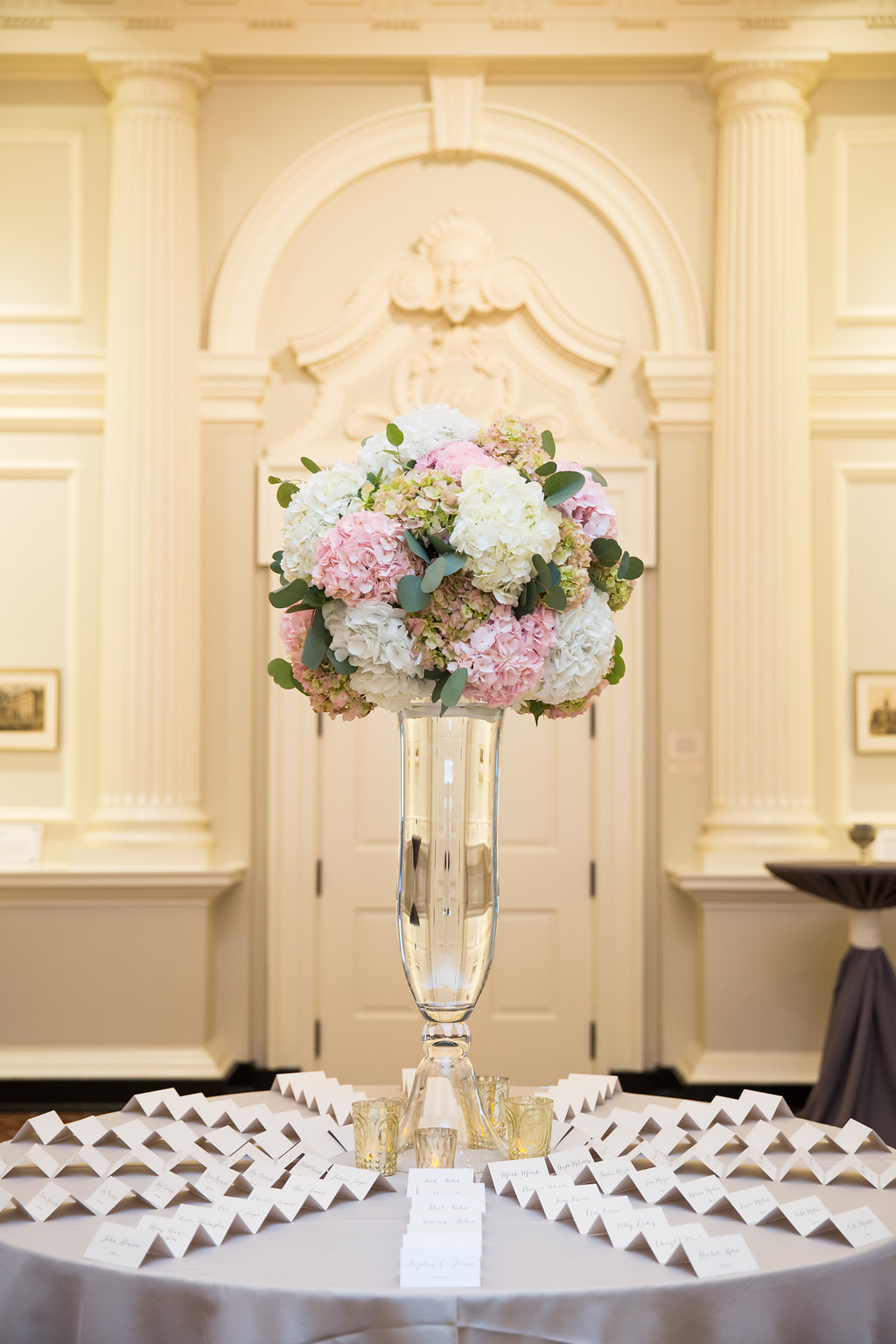Pink and White Table Centerpiece  Reception Seating Cards  Planning by Wrap It Up Parties
