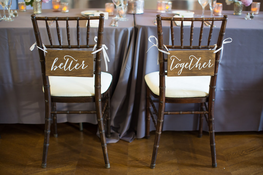 """Bride and Groom Chair Decor  """"Better Together""""  Planning by Wrap It Up Parties"""