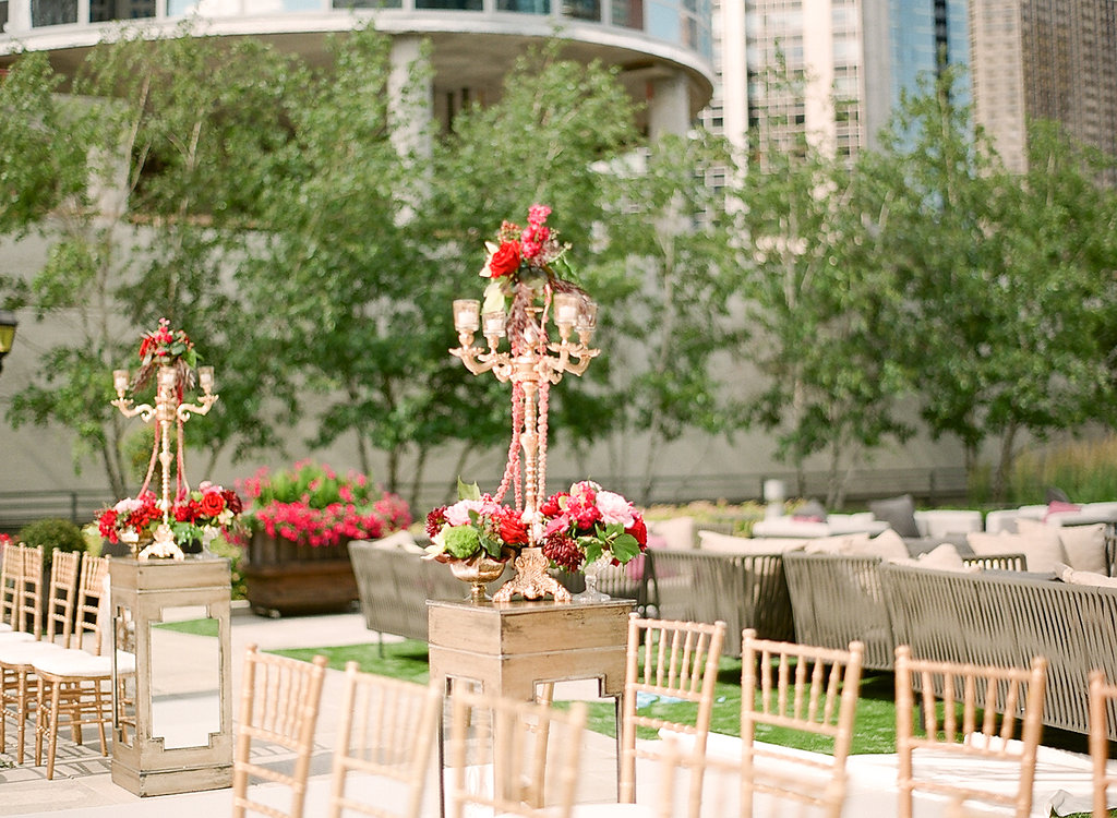 Ceremony Decor  Red Ceremony Flowers  Planning by Wrap It Up Parties