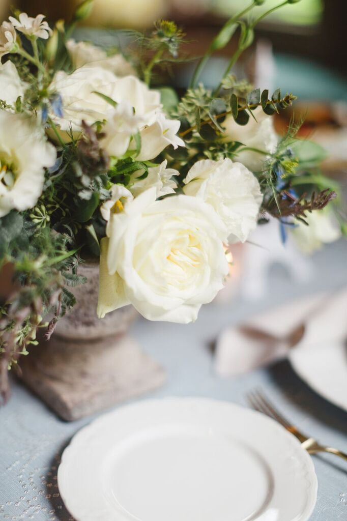 White and Green Floral Arrangement  Planning by Wrap It Up Parties