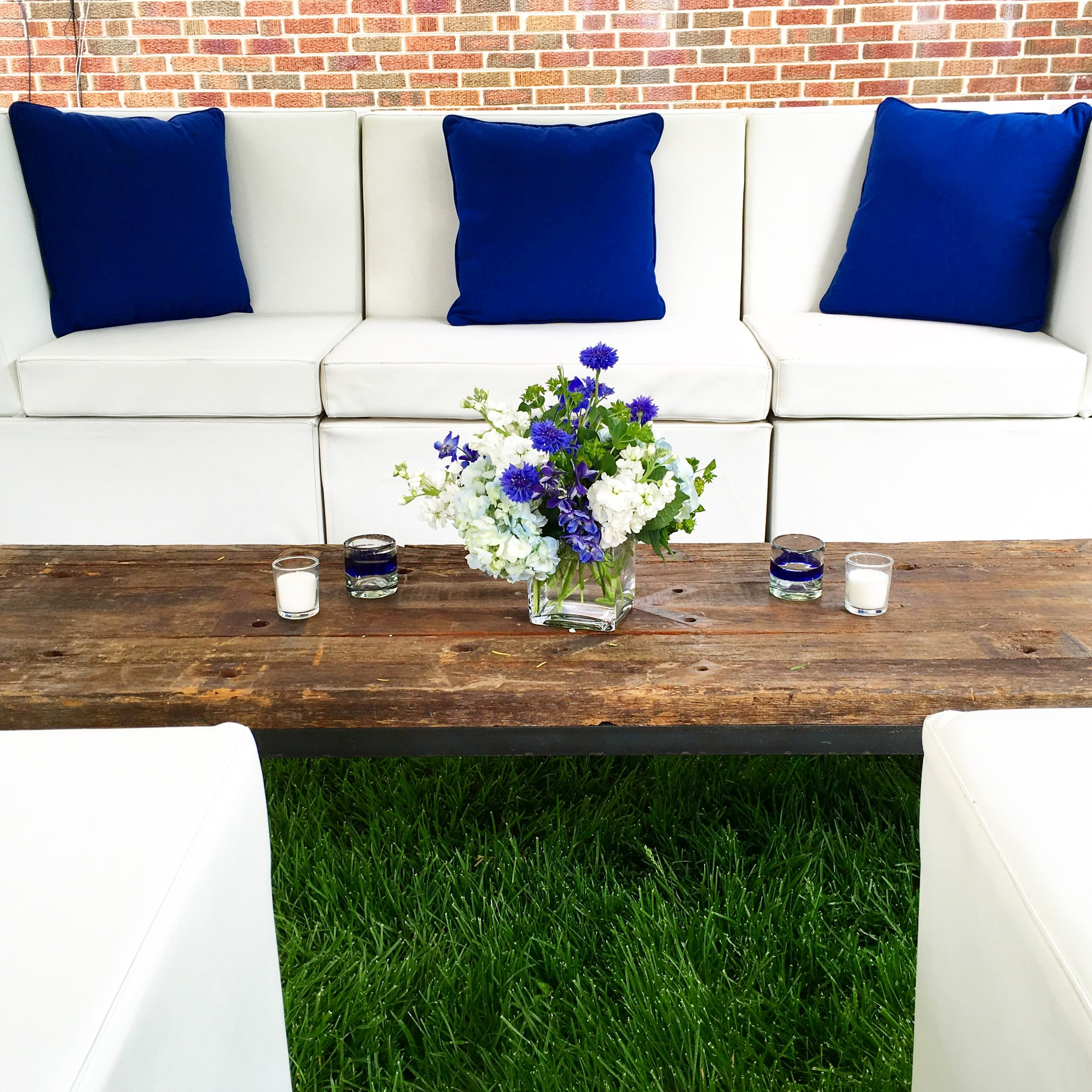 Backyard Graduation Party  Blue and White Party Decor  Planning by Wrap It Up Parties