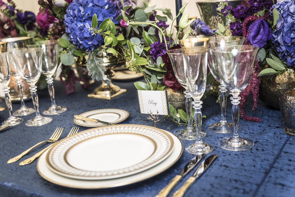 Navy and Gold Table Decor  Fall Centerpieces  Planning by Wrap It Up Parties