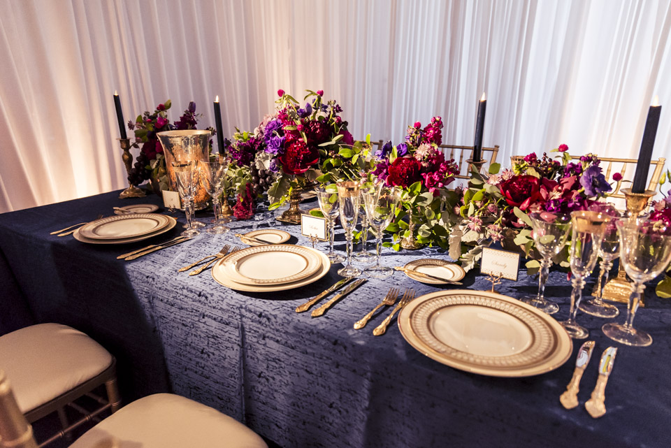 Retirement Party Table Decor  Navy and Gold Table Details  Planning by Wrap It Up Parties