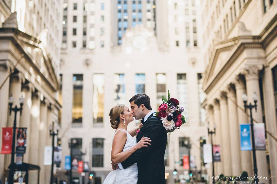 Bride and Groom  Fall Colored Bouquet  Chicago Wedding  Planning by Wrap It Up Parties