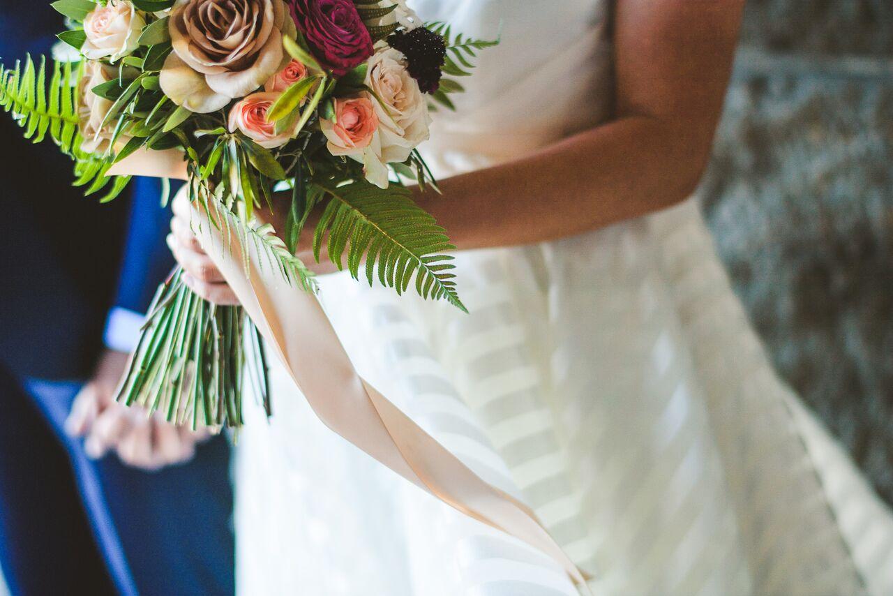 Bride Bouquet  Blush Ribbon Accent  Planning by Wrap It Up Parties