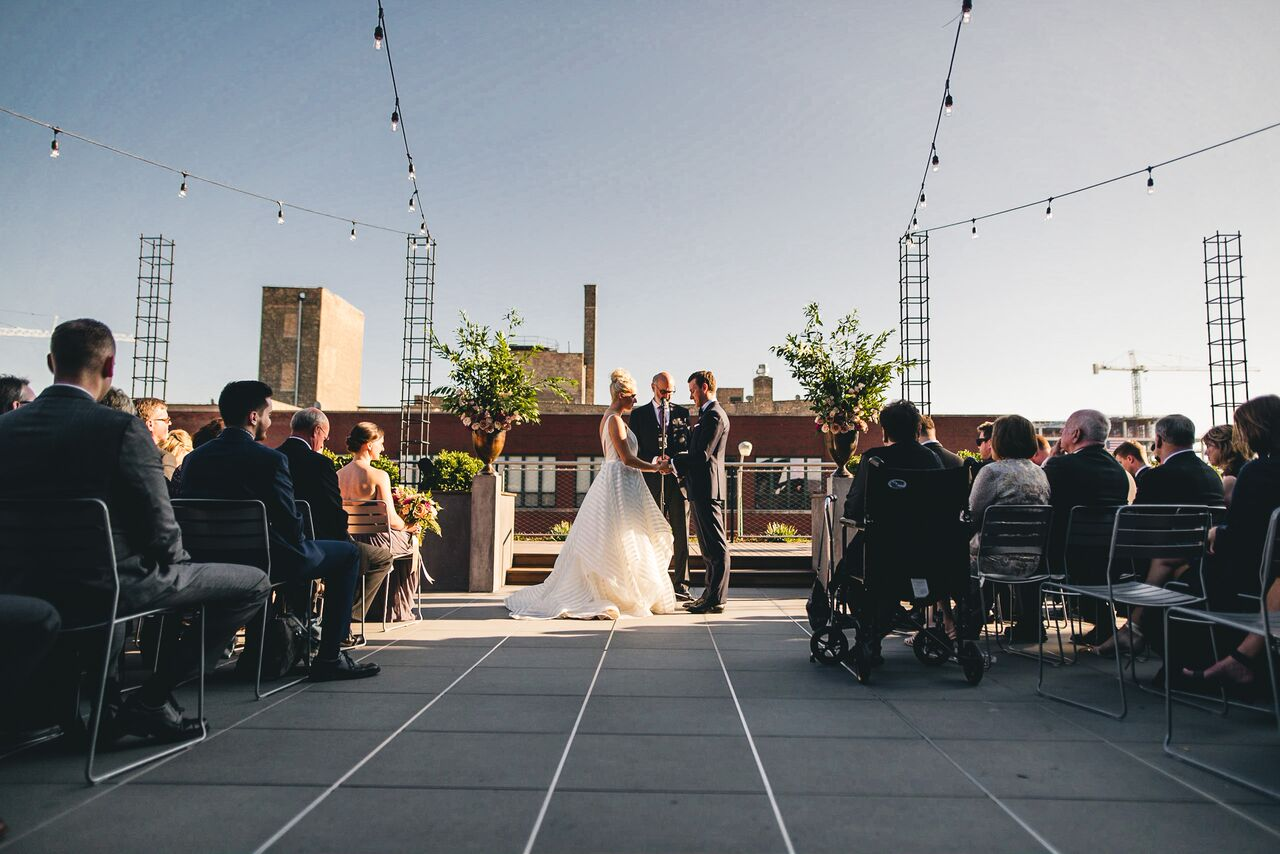 Bride and Groom  Outdoor Chicago Wedding Ceremony
