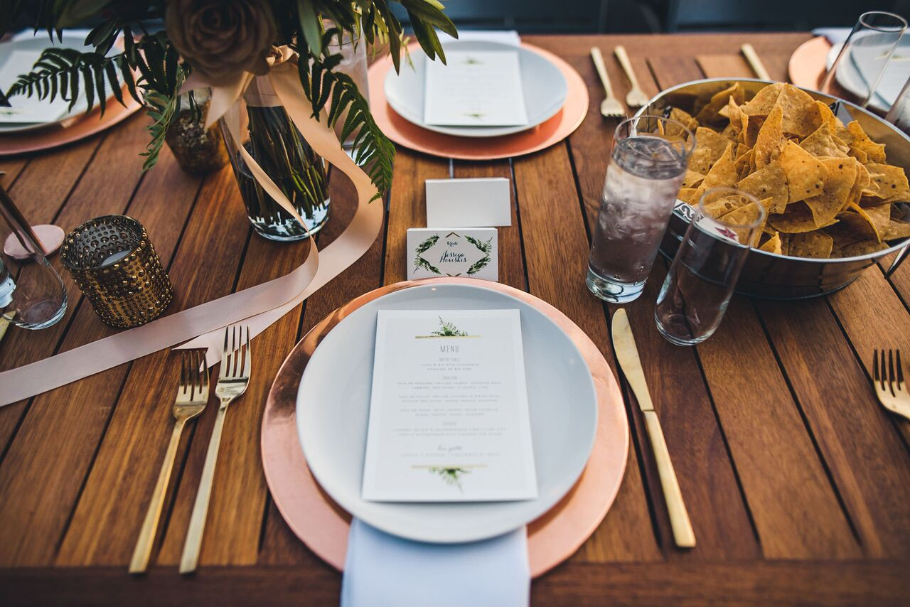 Wedding Reception Table Setting  Big Star Tacos  Planning by Wrap It Up Parties
