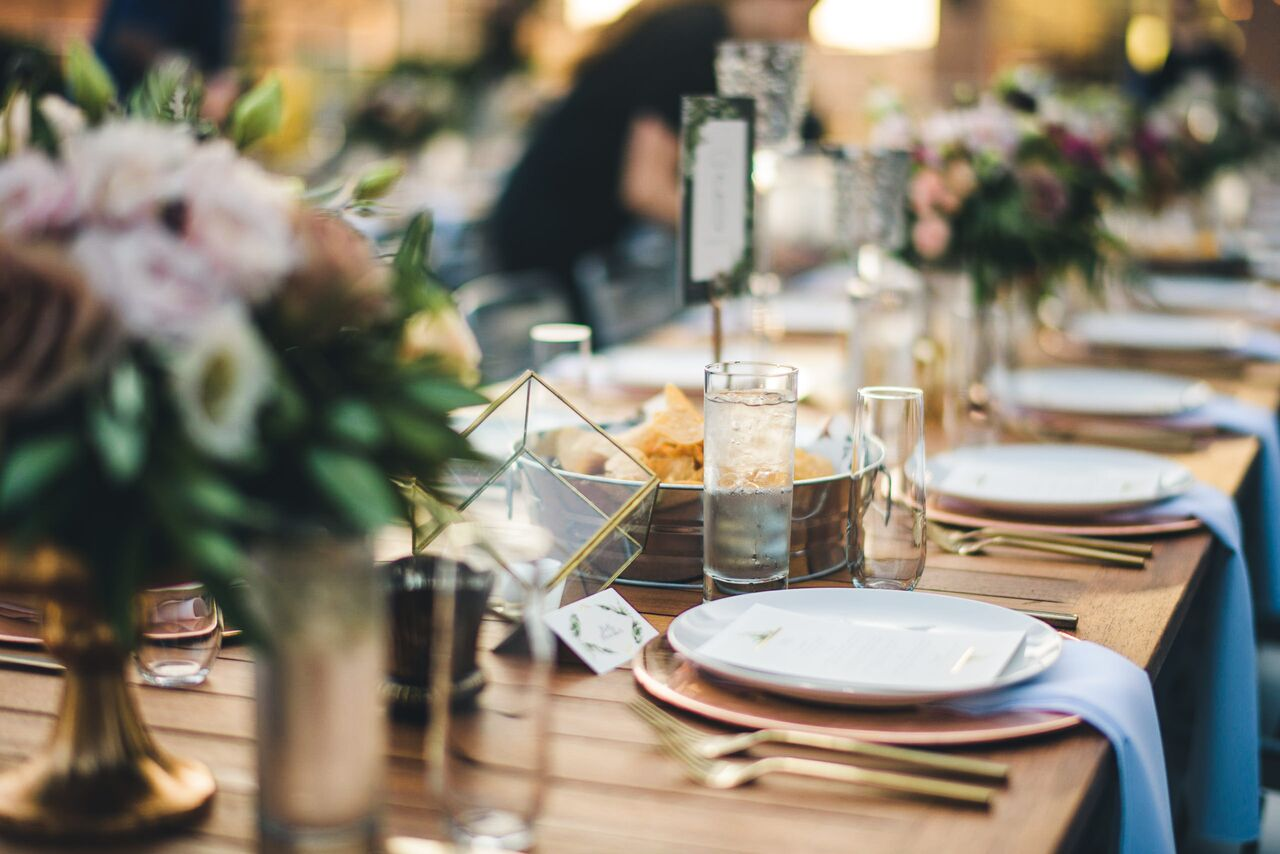 Wedding Reception Table Decor  Gold Table Accents  Planning by Wrap It Up Parties