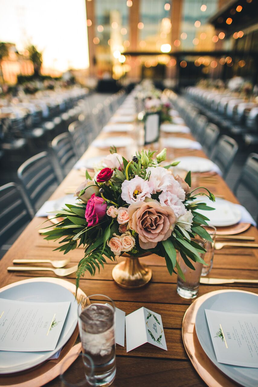 Reception Centerpiece with Antique Roses  Planning by Wrap It Up Parties