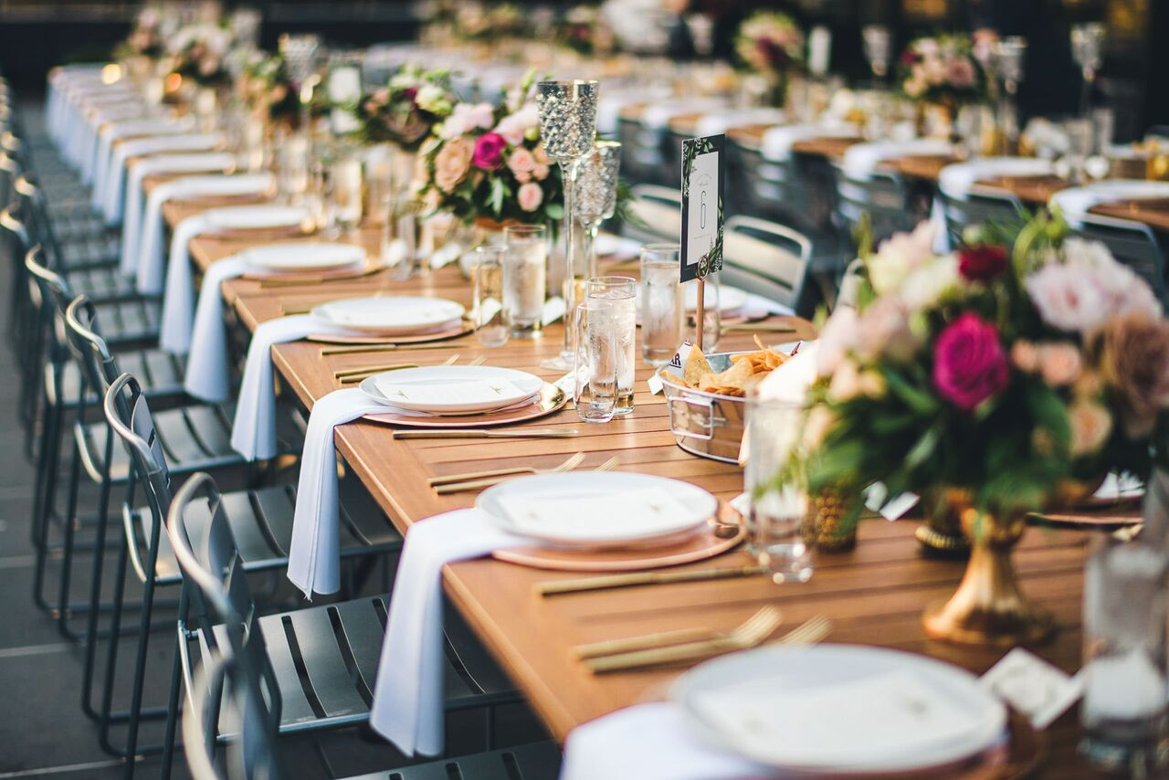 Wedding Reception Table Decor  Gold Accents  Planning by Wrap It Up Parties