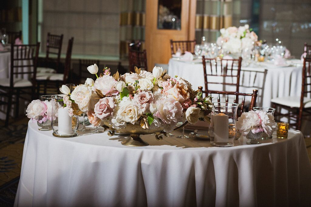 Blush Centerpiece  Reception Table Flowers  Planning by Wrap It Up Parties