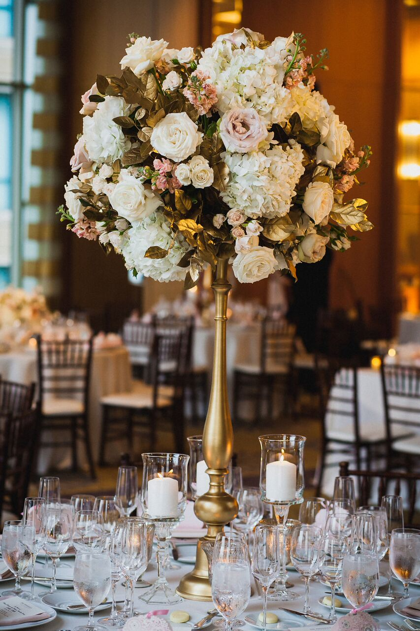 Blush and White Centerpiece  Gold Candle Decor  Planning by Wrap It Up Parties