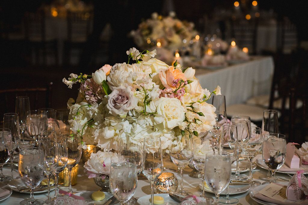 Blush and White Reception Flowers  Planning by Wrap It Up Parties