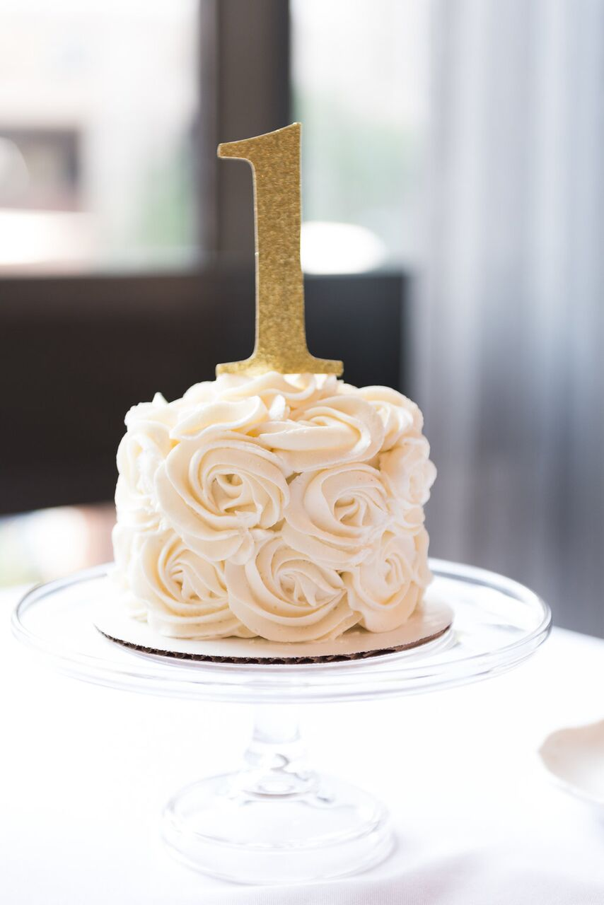 First Birthday Smash Cake  White and Gold Smash Cake  Planning by Wrap It Up Parties